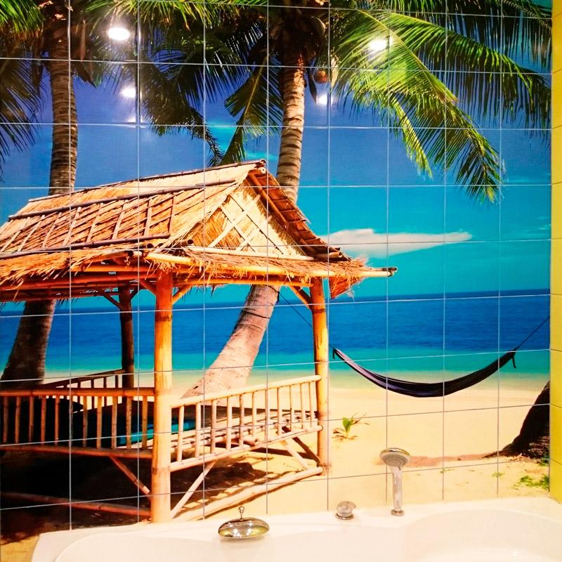 Фотоплитка-гамак-море-пальмы