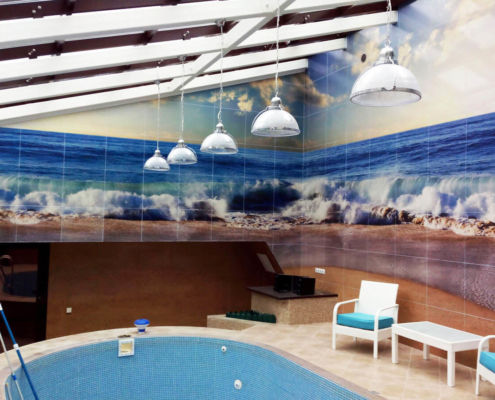 Керамическая плитка для бассейна с фотопечатью