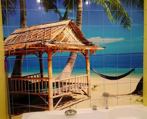Печать на плитке пальма