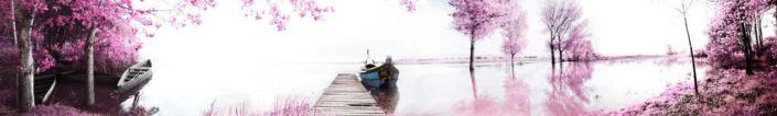 фартук для кухни розовый река и лодки