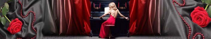 фартук для кухни красная роза и женщина за пианино