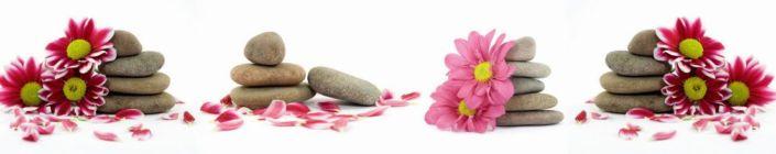 фартук для кухни розовые цветки хризантем на серых круглых камнях