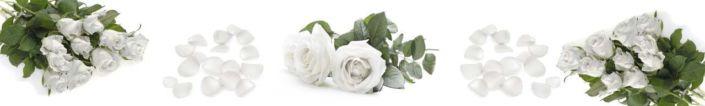 фартук для кухни букеты белых роз с лепестками