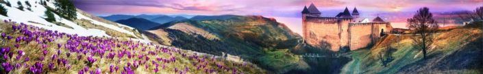 фартук для кухни замок и гора с цветами крокуса