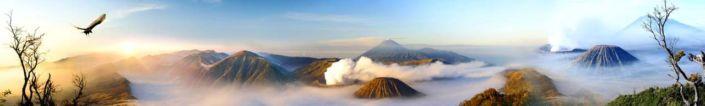 фартук для кухни вершины гор и вулканов в облоках