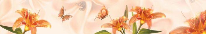 фартук для кухни красная лилия и бабочки
