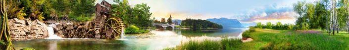 фартук для кухни поле река и водянная мельница