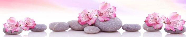 фартук для кухни розовый цветок серые круглые камни