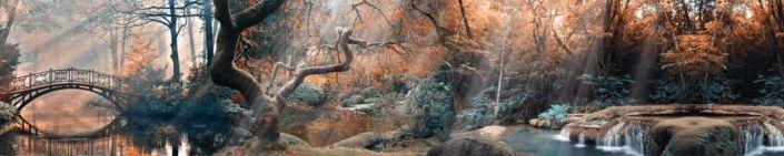 фартук для кухни коричневый лесной парк и миниводопад