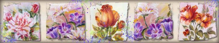 фартук для кухни рисунки колаж из цветов