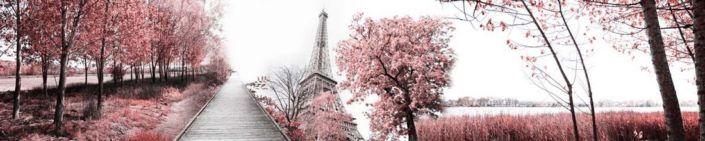 фартук для кухни Эфелева бащня и розовые деревья в серо-белых тонах