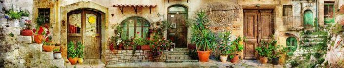 скинали для кухни фрески старинная улочка с цветами