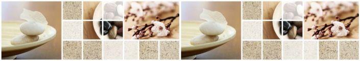 фартук для кухни бежевый цвет колаж цветок камни и песок