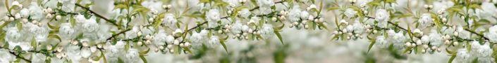 фартук для кухни цветущие ветки в белом