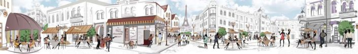 фартук для кухни Париж городок с уличными кафешками