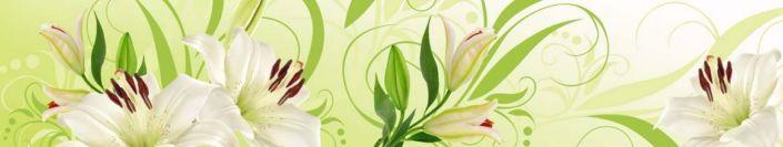 фартук для кухни белая лилия зелёная абстракция