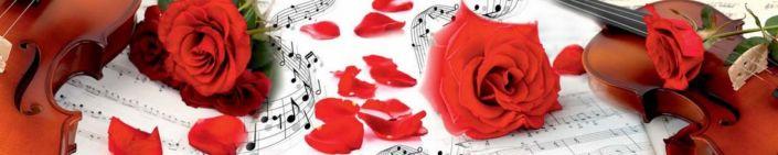 фартук для кухни красная роза скрипка ноты