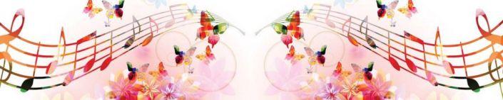 фартук для кухни розовый с бабочки и ноты