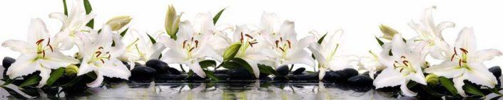 фартук для кухни белые лилии