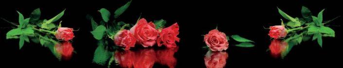 фартук для кухни розы красные и в отрожение на чёрном фоне