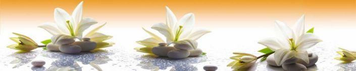 фартук для кухни белая лилия на белых круглых камнях