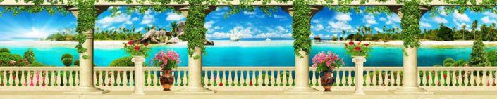 скинали для кухни фрески белая веранда с колонами виды на голубой океан