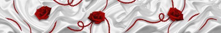 фартук для кухни красная роза на белом шёлке