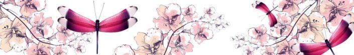 фартук для кухни рисунок стрекозы и цветов