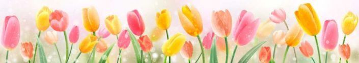 фартук для кухни тюльпаны розовые и жёлтые