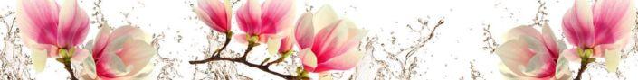 фартук для кухни розовые цветы и брызги воды