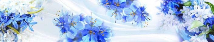 фартук для кухни абстракция с синими цветами