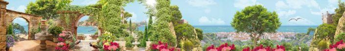 скинали для кухни фрески цветущая набережная кипарисы цветы