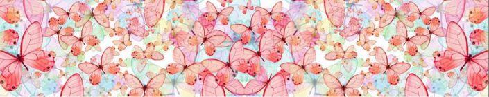 фартук для кухни бабочки розовые