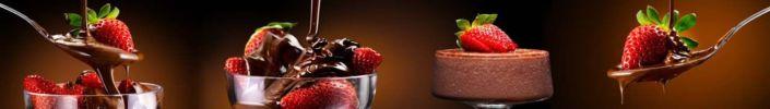 фартук для кухни клубника и шоколадный десерт