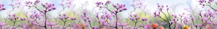 фартук для кухни полевые розовые цветочки