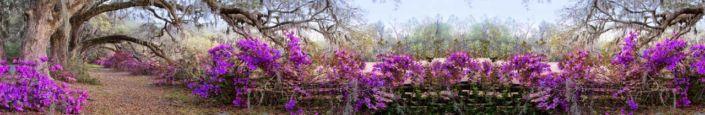фартук для кухни природа с фиолетовыми цветками плетение