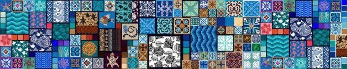 фартук для кухни цветная с разнообразными рисунками и узорами