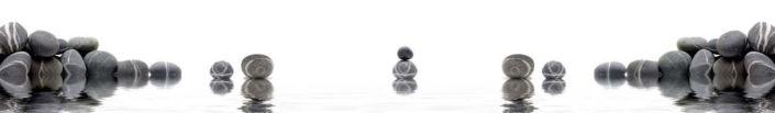 фартук для кухни круглые серые камни