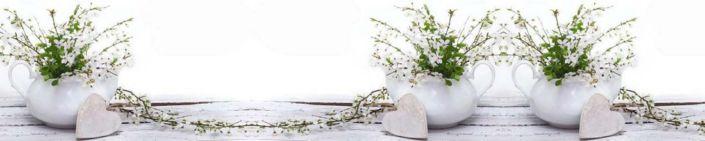 фартук для кухни цветкт белые компазиция в чайниках