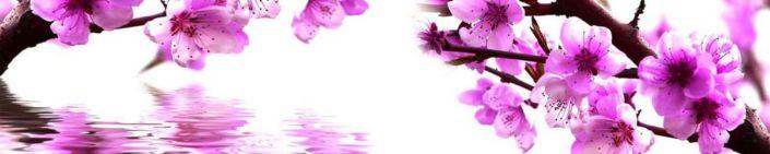 фартук для кухни розовые цветки на ветке над водой