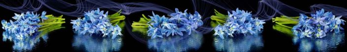 фартук для кухни синии букеты цветов