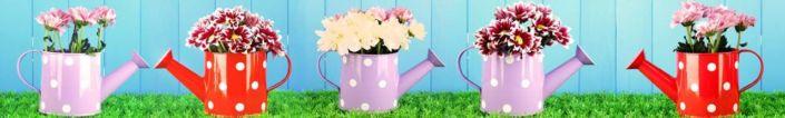 фартук для кухни цветы в лейках
