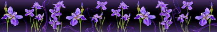 фартук для кухни ирисы на фиолетовом фоне