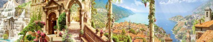 скинали для кухни фрески водопад набережная цветы и зелень