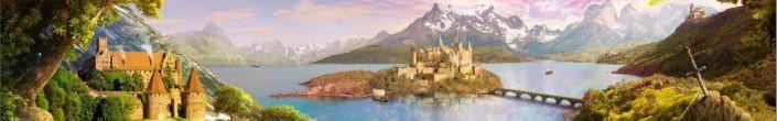 фартук для кухни сказочные замки горы и озёра
