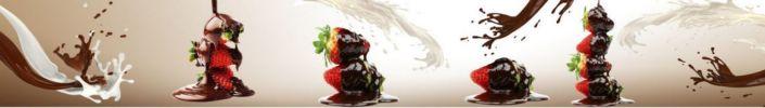 фартук для кухни шоколад сливки с клубникой