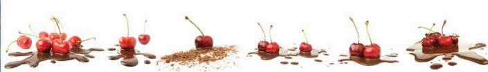 фартук для кухни вишня в шоколаде на белом фоне