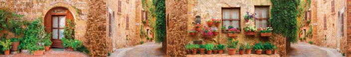 скинали для кухни фрески старинные улочки с растениями и в цветах