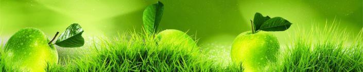 фартук для кухни зелёное яблоки трава