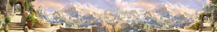 фартук для кухни фрески вид на горы